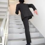 昼食後に階段で4Fから18Fへ上がるようにしました。